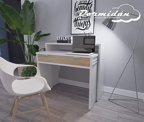Dormidán- Mesa Escritorio Extensible, Consola Estudio, (Blanco cajón Roble)
