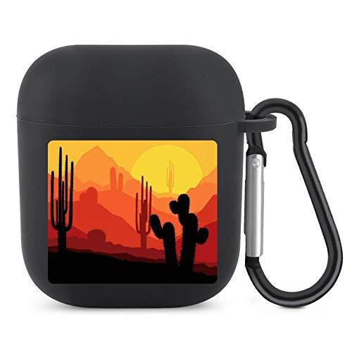 Cactus Plants Desert Sunset Western Arizona - Funda de silicona para AirPods 1 y 2 a prueba de golpes, TPU con accesorios para llavero