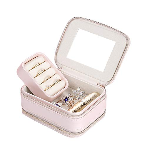 Aco&bebe House Smart 2-Zipped Travel Jewelry Box Organizer Storage Case for Daily Necklaces Earrings Rings (Pink)