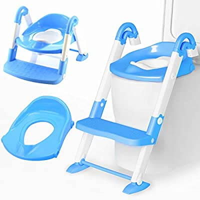 Amagoing Potty Training Seat, 3-in-1 Potty Training Toilet with Step Stool Ladder for Toddlers Kids Boys Girls