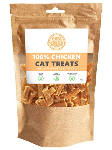 Pets Purest Natural Cat Treats - 100% Pure Chicken Nibble Dry Food Treat Snack Mix Chew Sticks for Cats, Kitten & Senior. Healthy Air-Dried Grain, Gluten & Lactose Free Chews- 100g