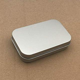 mecoco ブリキ缶 ミニボックス メタル収納ケース ヒンジ付き蓋 シルバー 長方形コンテナ 小物収納 雑貨入れ