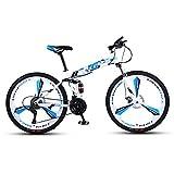 DGAGD Bicicleta de montaña Plegable de 26 Pulgadas, Doble Amortiguador, Carreras Todoterreno, Bicicleta de Velocidad Variable de Tres Ruedas-Blanco Azul_21 velocidades