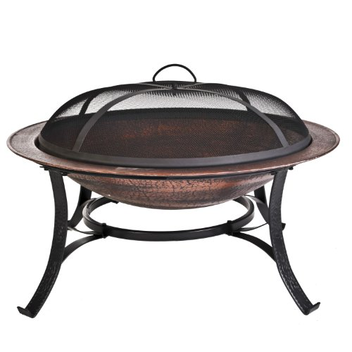 : CobraCo FB6132 30 inch Round Cast Iron Copper Finish Fire Pit with Screen and Cover
