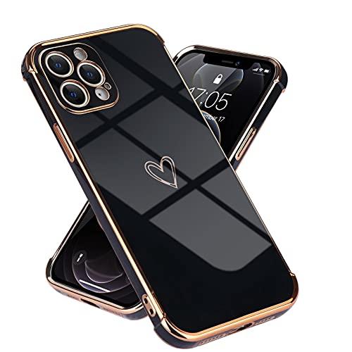 Laf&a kompatibel mit iPhone 12 Pro Max(6,7 Zoll) Handyhülle Mädchen Liebesherz Silikonhülle weich TPU Hülle Ultra dünn Stoßfeste Schutzhülle Bumper Silikon case für iPhone 12 Pro Max Schwarz