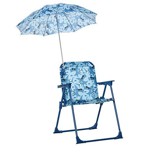 Outsunny Kinder-Campingstuhl mit Sonnenschirm Kinder-Strandstuhl Klappstuhl für 1-3 Jahre leichte Gewicht Metall Blau 39 x 39 x 52cm