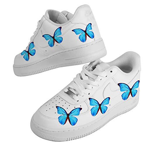 Aufkleber für personalisierte Schuhe, Schmetterlingsschuhe, 6 Schmetterlinge, Blau