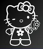 hello kitty gun car decal - HELLO KITTY w/ HAND GUN SANRIO LOGO VINYL STICKERS SYMBOL 5.5