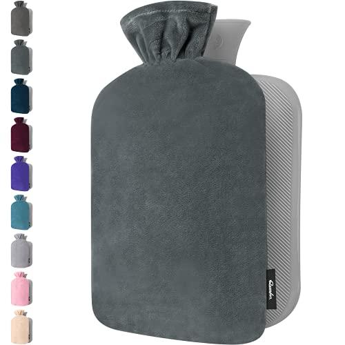 Wärmflasche mit Bezug – Weicher Premium Vliesbezug – 1,8l groß Wärmeflasche, Wärmflasche Kinder, Bettflasche für Erwachsene - Tief Grau - 1 Stück