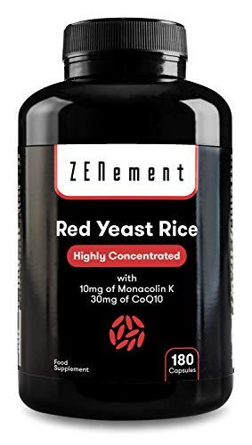 Levure de Riz Rouge concentrée avec 10mg de Monacoline K et 30mg de Coenzyme Q10, 180 Gélules   Vegan, non-GMO, sans citrinine, additifs ou gluten