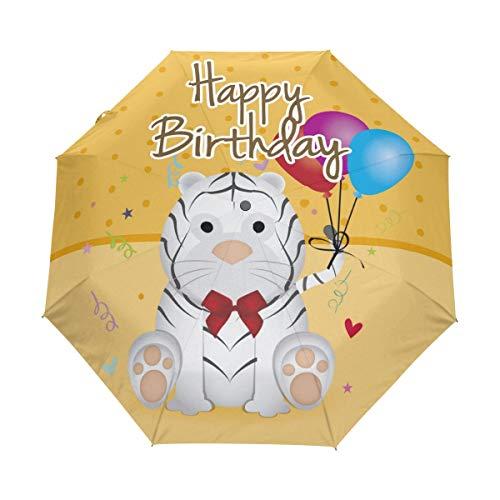 Rode paraplu Happy Birthday tijger balloons auto openen sluiten zonlicht regenparaplu