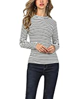 Hibluco Women's Casual Round Neck Stripe Tee Shirt Long Sleeve Slim Fit Blouse Tops White