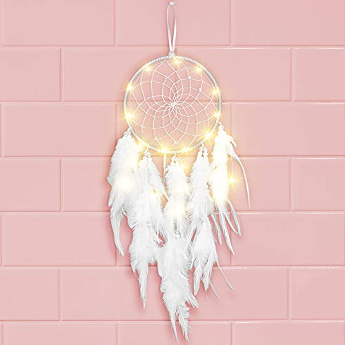 Vegena Traumfänger Kinder, Traumfänger Boho Handgefertigt LED Licht Federn Dream Catchers Mädchen Wandbehang Ornament für Wandtattoo Wohnzimmer Wanddeko Schlafzimmer Dekoration Geschenk
