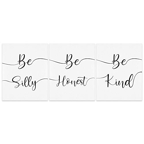 bestdeal depot Wall Art Posters Be Silly Be Kind Be Honest Artwork Canvas Poster Home Decoration for Bathroom, Bedroom, Office Unframed Set of 3, 8x10 inches