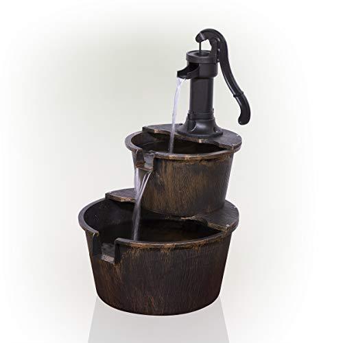 Alpine Corporation TIZ194BZ Alpine 2-Tier Rustic Pump Barrel Waterfall for...