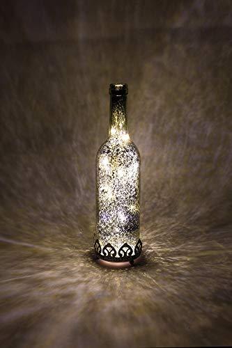 Home&Decorations Lanterne LED en Verre d'origine à Piles Argenté Ø 8 cm × 29 cm