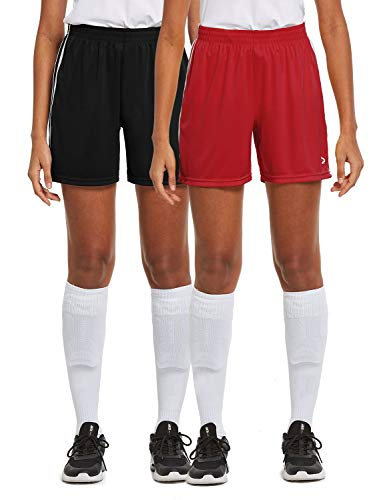 BALEAF Women's 5'' Basketball Soccer Lightweight Shorts 2-Pack UPF50+ Athletic Sports Training Loose-Fit with Drawstrings Black/Red M