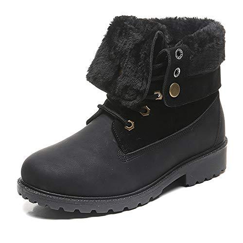 Donna Stivali da Neve Invernali Similpelle Outdoor Bassi Scarpe con Pelliccia Caloroso Caviglia Boots Comodi Leggeri Stivaletti