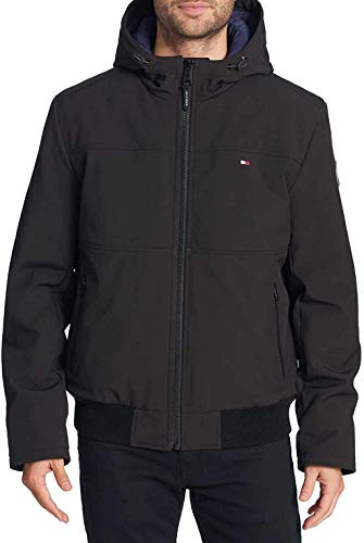 Tommy Hilfiger Men's Soft-Shell Bomber Jacket, Variety (L, Black)