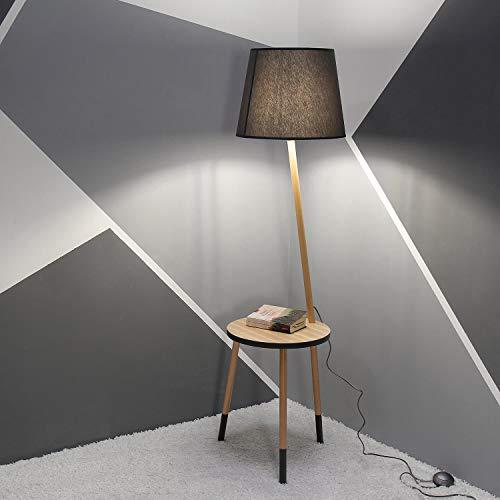 Lámpara de pie con tres patas de madera, gris, marrón, altura 152 cm, E27, toldo, pantalla de tela, diseño escandinavo