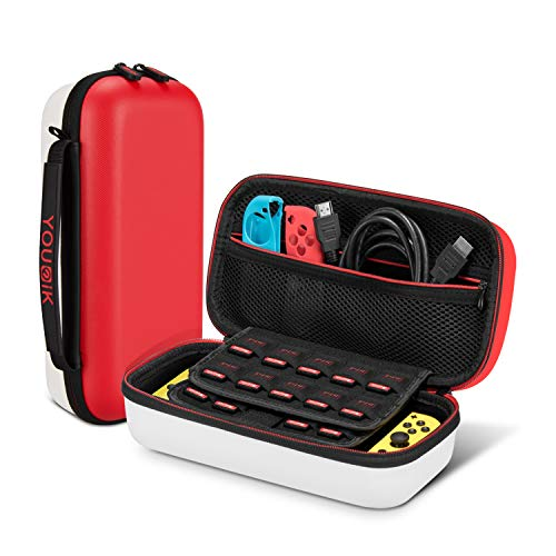 Funda para Nintendo Switch - Younik Versión Mejorada Viaje rígida Case con más Espacio de Almacenamiento para 19 Juegos, Protector Pantalla - Rojo & Blanco