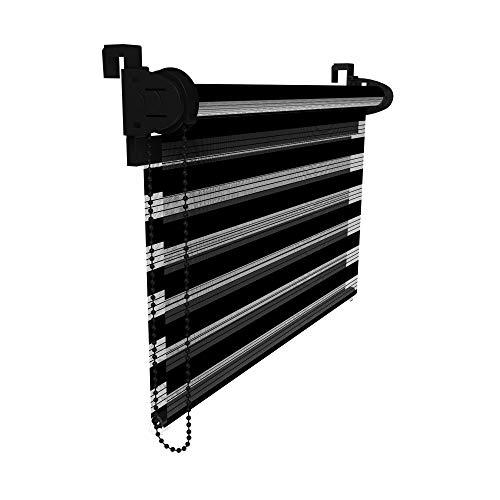 Victoria M. dubbel rolgordijn Klemmfix duo-rolgordijn zonder boren voor ramen en deuren, 75 x 230 cm, svart