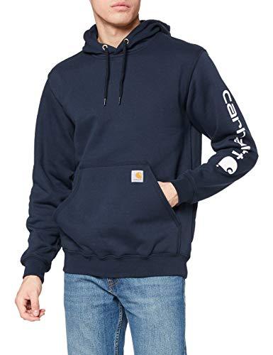 Carhartt Midweight Sleeve Hooded Sweatshirt Workwear Original Fit Pull à Capuche avec Logo sur la Manche Marine Taille M, New Navy, M Homme