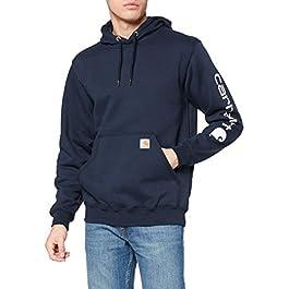 Carhartt Men's Midweight Sweatshirt Workwear Original Fit Hooded Sweater with Sleeve Logo, XXL, New Navy, 2XL