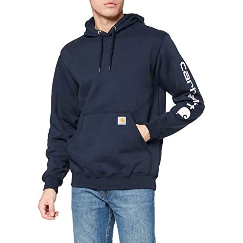 Carhartt Men's Midweight Sweatshirt Workwear Original Fit Hooded Sweater with Sleeve Logo, XXL, New Navy, 2XL