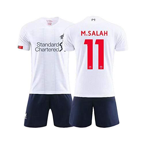 11# Salah Kids Fußballtrikot-Set Weißer Anzug - Professionelle technische Kleidung Unisex-Trainingsuniform Athlete's Jersey Mesh Schnelltrocknendes Kurzarm-Fans-Sweatshirt-White-S(165.170CM)