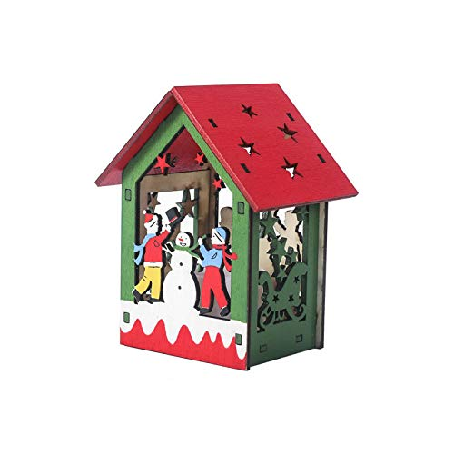 ZXXFR Kerstmis decoratieve hanger, afbeeldingen een sneeuwpop LED-verlichting houten huis vakantiehuis kerstboom hangers ornament decoratie Xmas party hangende decoratie geschenk