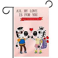 ガーデンヤードフラッグ両面 /12x18inch/ ポリエステルウェルカムハウス旗バナー,幸せなバレンタインデークマシマウマ動物
