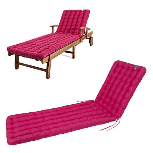 HAVE A SEAT Luxury - Liegenauflage, Auflage Gartenliege (Hot Pink) 200 x 60 cm, 8 cm dick, waschbar bei 95°C, Trockner geeignet, Bequeme Polsterauflage für Sonnenliege, Liegestuhl, Relaxliege