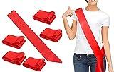 Fajín de Satén de Color liso para Bricolaje, Banda Liso DIY para Desfiles, Despedidas de soltero, Bodas, Cumpleaños y Graduación, 6PCS (Rojo)