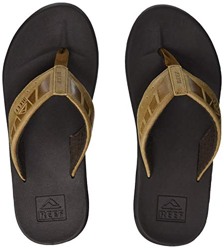 Reef Men's Sandals Phantom Leather | Athletic Flip Flops for Men with Contoured Footbed | Waterproof | Brown/Tan | Size 12
