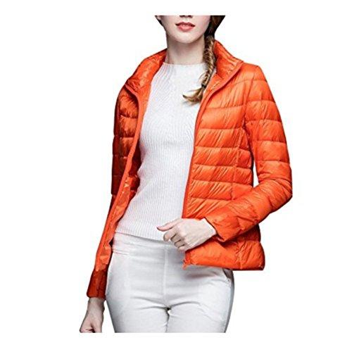 Casaco acolchoado feminino WSLCN 3 em 1 ultraleve gola Mao elegante, embalável, quente, à prova de vento, inverno, Laranja, M