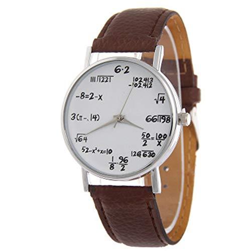 Matemáticas de Reloj Estudiantes Reloj de Pulsera Student Boys Girls Watch con matemáticas Ecuaciones Esfera Plate Piel Banda Reloj de Pulsera (marrón)