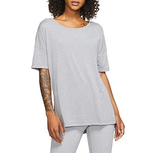 NIKE CJ9326-073 Yoga Shirt, Particle Grey/Heather/Platinum Tint, XS Womens