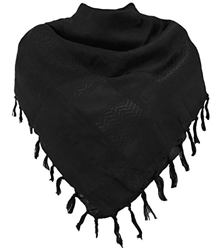 Military Shemagh Tactical Desert 100% Cotton Keffiyeh Scarf Wrap, one size, black