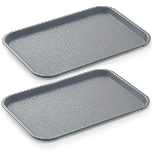 mikken 2 x Gastro-Tablett, grau 35 x 27 cm, rutschhemmend aus Kunststoff Polypropylen