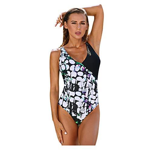 MEITING Einteiler Badeanzug Damen Swimsuit Push up Bademode Neckholder V-Ausschnitt Rückenfrei Einteiler Tankinis Bikini Set Sexy Strandmode Monokini Schwimmanzug Strandbikini