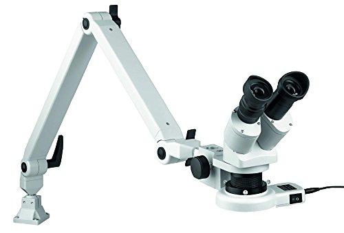 ESCHENBACH OPTIK Stereomikroskop mit Arm; 10x-20x Auflicht-/ Stereomikroskop; Mikroskop mit 20x Vergrößerung; mit LED Ringbeleuchtung