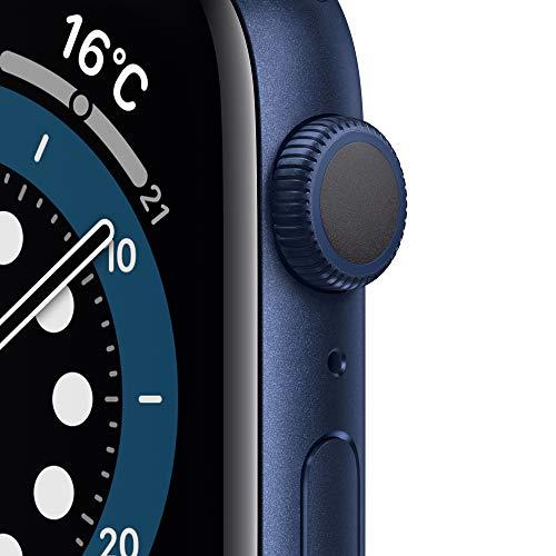 最新AppleWatchSeries6(GPSモデル)-44mmブルーアルミニウムケースとディープネイビースポーツバンド