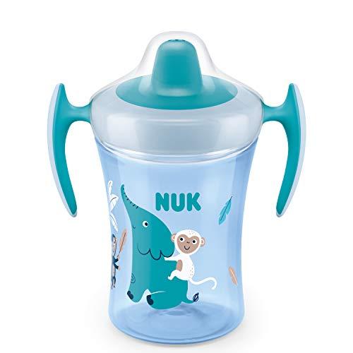 NUK Trainer Cup vaso antiderrame bebe | Boquilla blanda a prueba de fugas | +6meses | Sin BPA | 230ml | Elefante (azul) | 1unidad