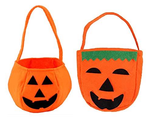Pipihome 2 bolsas de Halloween con forma de calabaza para dulces, para Halloween, cesta de dulces o ácidos, bolso portátil, cesta de calabaza para niños, decoración