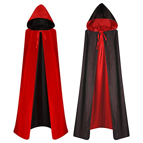 Capa de Vampiro, Vampiro Capucha Capa, Capa Reversible Negro Rojo, Capa Dracula, Vampiro Traje, Disfraces de Vampiros para Adultos Niños Fiesta de Halloween Cosplay, 170cm