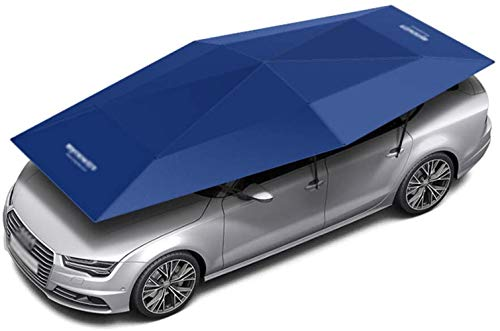 Car Sunshades car tent Semi-Automatic, Portable Car Umbrella Cover Movable Carport Folded Automobile Cars Protection Canopy with Sun Shade Anti-UV, Water-Proof, Snow Wind Proof ( Color : Blue 4.5 )