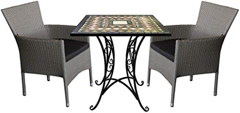 Wohaga 3tlg. Sitzgarnitur Mosaikgarnitur 70x70cm + 2X stapelbare Polyrattan Sessel Grau inkl. Kissen Schwarz