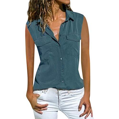 Momoxi Camicia da Donna, Blusa Elegante Camicia Scollo V Camicetta Camicia Bavero Davanti Top Estivo Sexy Oversize Tinta Unita