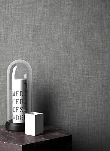 NEWROOM Tapete grafisch grau Unifarbe Struktur Uni Vliestapete Vlies Tapete Textil Einfarbig Unifarben Textil inkl. Tapezier Ratgeber ǀ Grafik